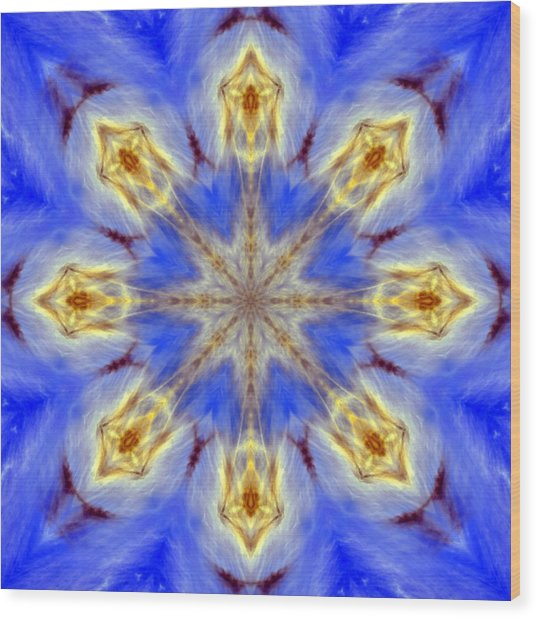 Angels In The Sky Mandala Wood Print