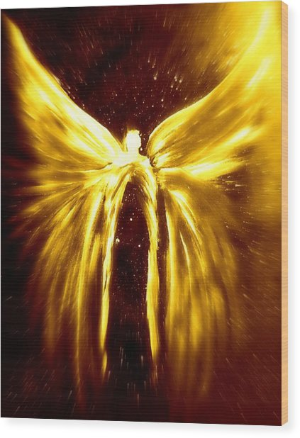 Angels Of The Golden Light Anscension Wood Print