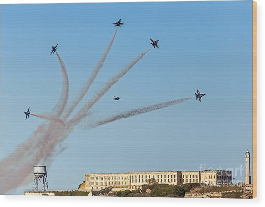 Angels Over Alcatraz Wood Print