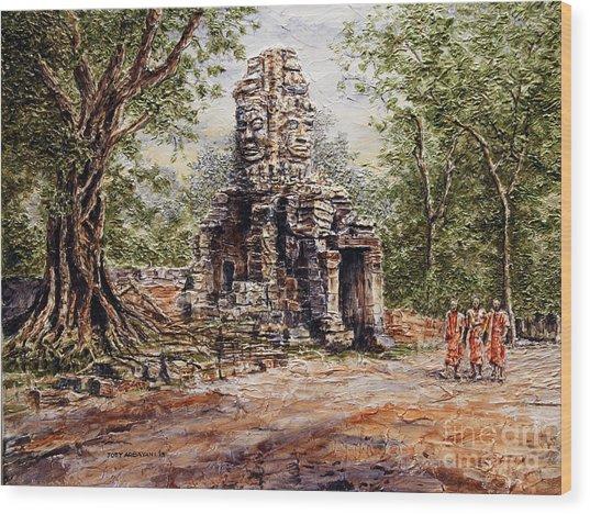 Angkor Temple Gate Wood Print