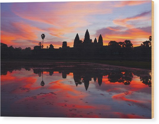 Angkor Wat Sunrise Wood Print