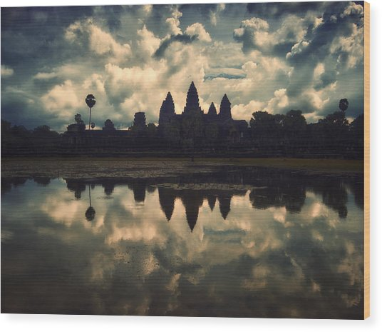 Angkor Wat Sunset Wood Print