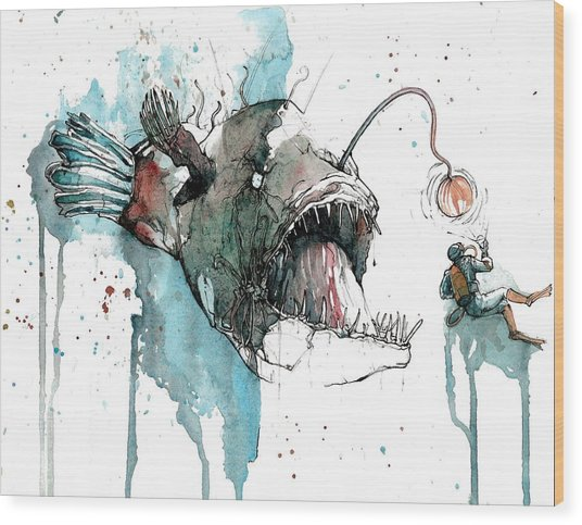 Angler  Wood Print by Michael Pattison