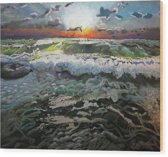 Angry Ocean Wood Print
