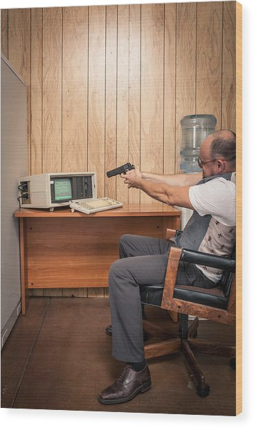 Angry Office Working Aiming Gun At Old Computer Wood Print by Sjharmon