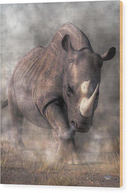 Angry Rhino Wood Print
