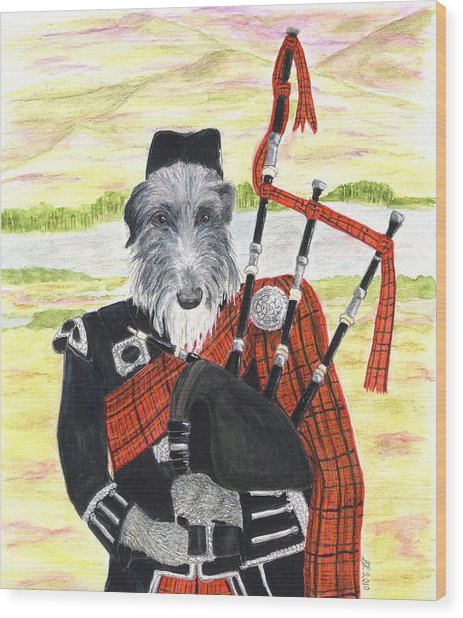 Angus The Piper Wood Print