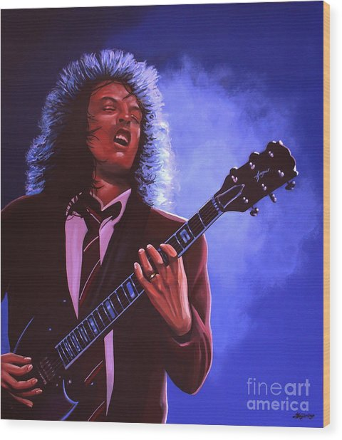 Angus Young Of Ac / Dc Wood Print