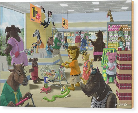 Animal Supermarket Wood Print