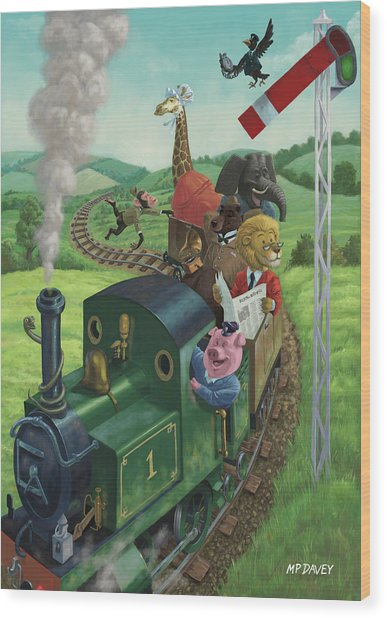 Animal Train Journey Wood Print