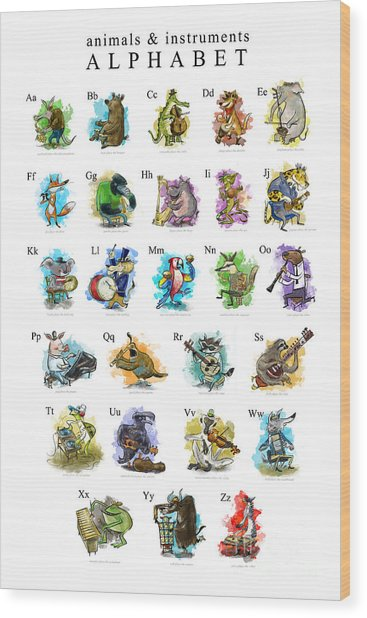 Animals And Instruments Alphabet Wood Print
