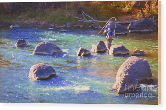 Animas River Fly Fishing Wood Print