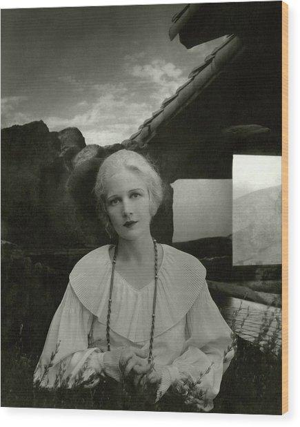 Ann Harding Wearing A Blouse Wood Print by Edward Steichen