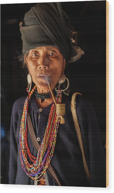 Ann Tribe Woman, Kyaing Tong, Golden Wood Print