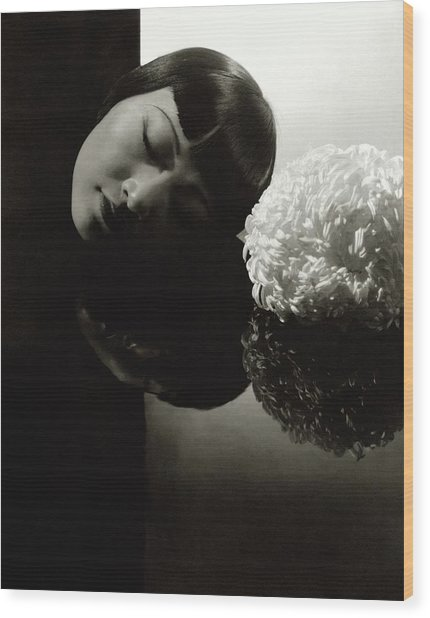 Anna May Wong Resting Her Head Wood Print by Edward Steichen