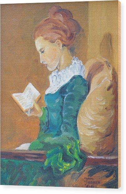 Anna Reading Wood Print by Janina  Suuronen