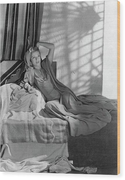 Annabella Reclining In A Crepe Dress Wood Print