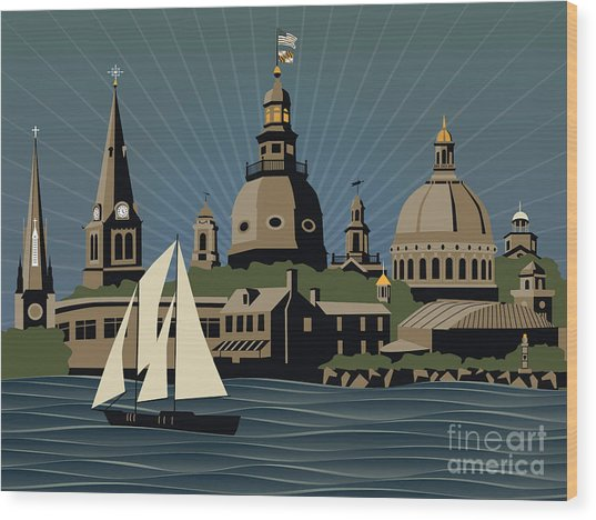 Annapolis Steeples And Cupolas Serenity Wood Print