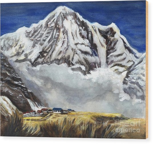 Annapurna L Mountain In Nepal Wood Print