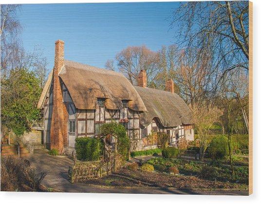 Anne Hathaways Cottage Stratford Upon Avon Wood Print by David Ross