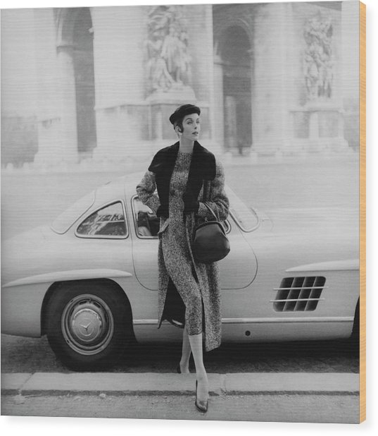 Anne St. Marie By A Mercedes-benz Car Wood Print