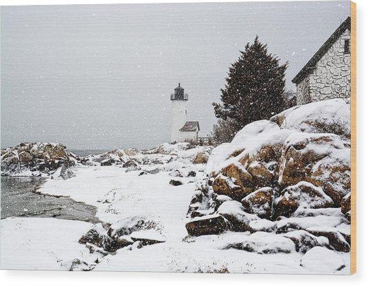 Annisquam Light-snow Storm Wood Print