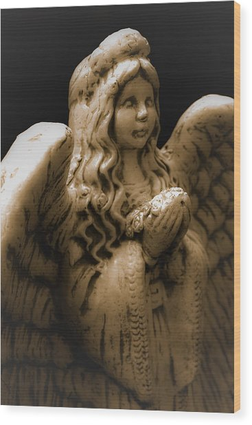 Another Angel Wood Print by Jennifer Burley