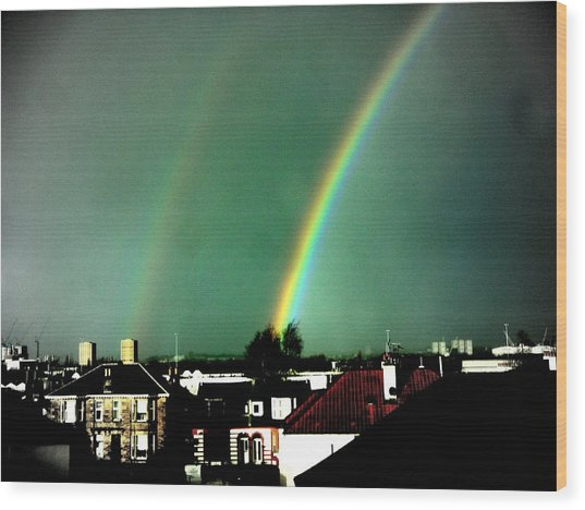 Another Scottish Rainbow Wood Print by Mlle Marquee