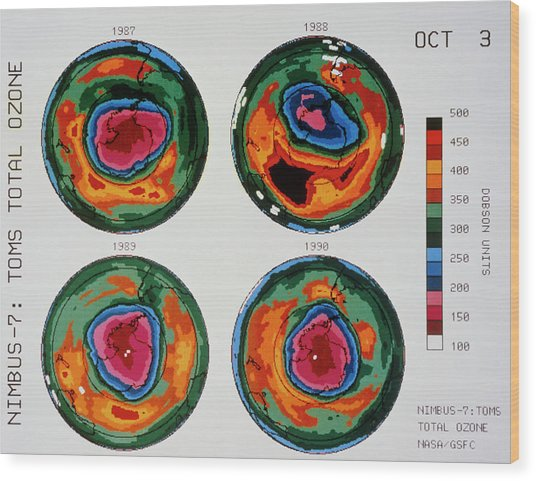Antarctic Ozone Hole: Toms Comparison 1987-1990 Wood Print by Nasa/science Photo Library