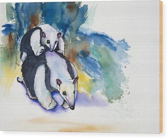 Anteater With Baby Wood Print