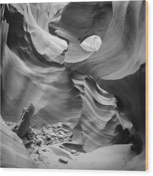 Antelope Canyon Rock Formations Bw Wood Print by Melanie Viola