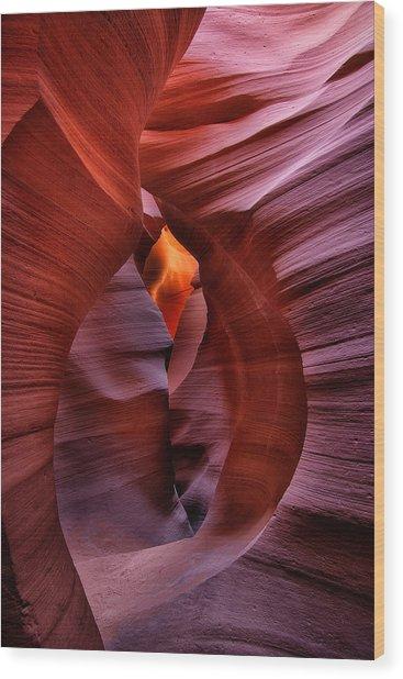 Antelope Canyon Tunnel Wood Print