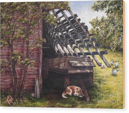 Anticipation - Farm Life Wood Print