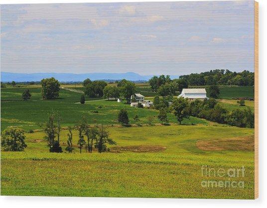 Antietam Battlefield And Mumma Farm Wood Print