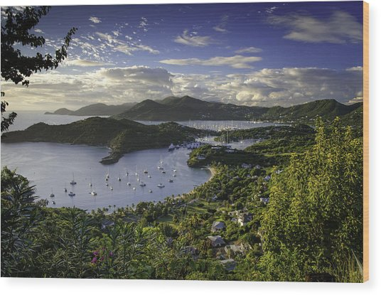 Antigua Sunset From Shirley Heights Wood Print