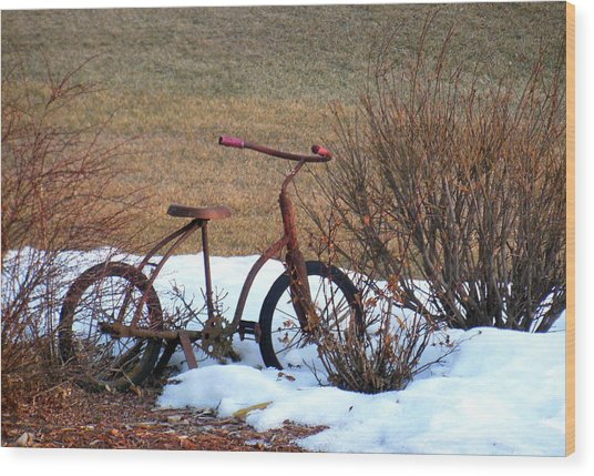 Antique Bike Wood Print