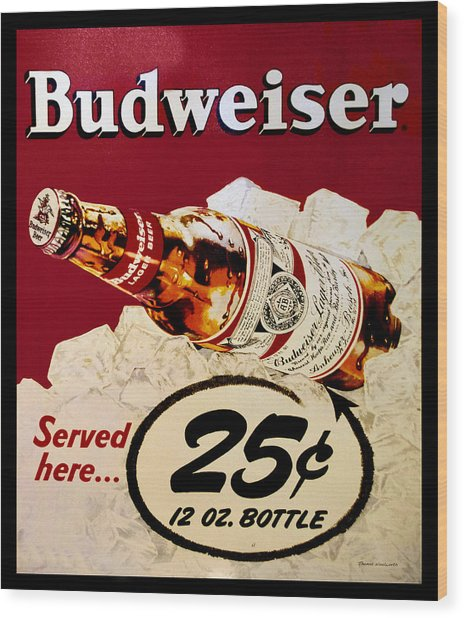 Antique Budweiser Signage Wood Print