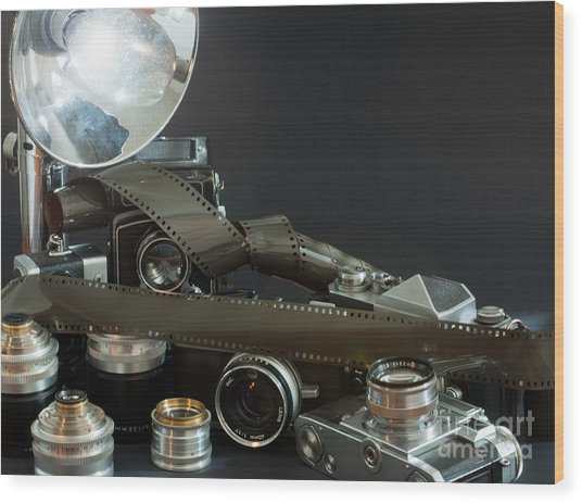 Antique Cameras Wood Print