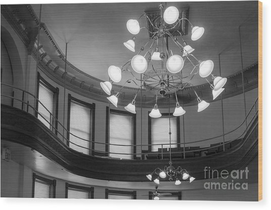 Antique Chandelier In Old Courtroom Wood Print