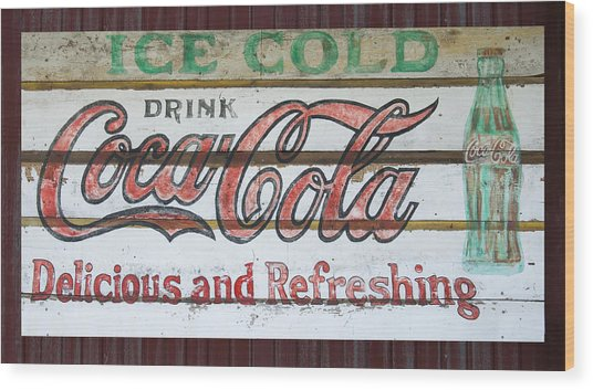 Antique Coca Cola Sign  Wood Print