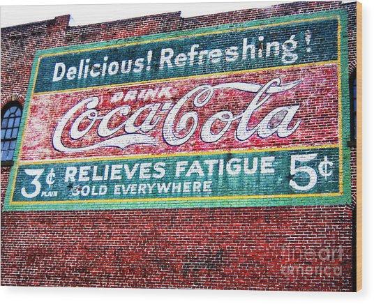 Antique Coke Sign Wood Print