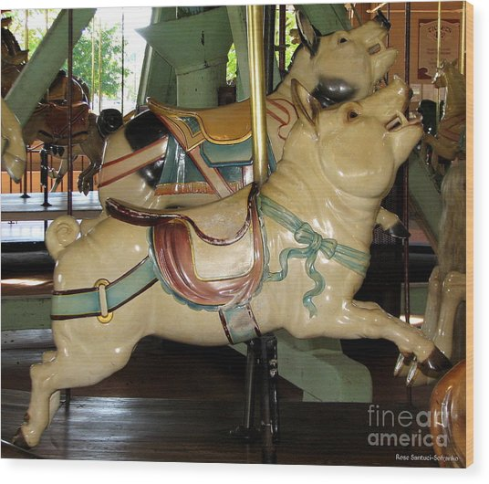 Wood Print featuring the photograph Antique Dentzel Menagerie Carousel Pigs by Rose Santuci-Sofranko