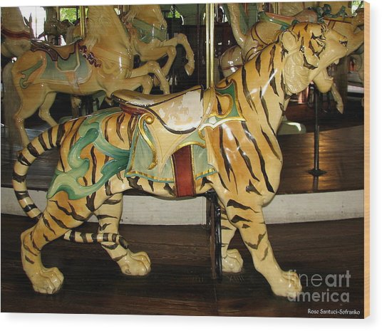 Wood Print featuring the photograph Antique Dentzel Menagerie Carousel Tiger by Rose Santuci-Sofranko