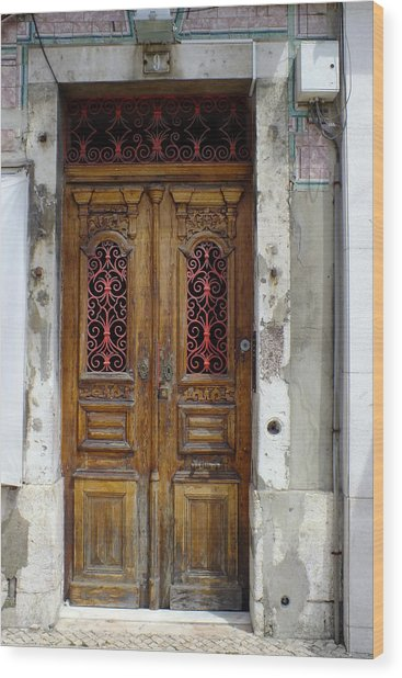 Antique Door In Lisbon Wood Print
