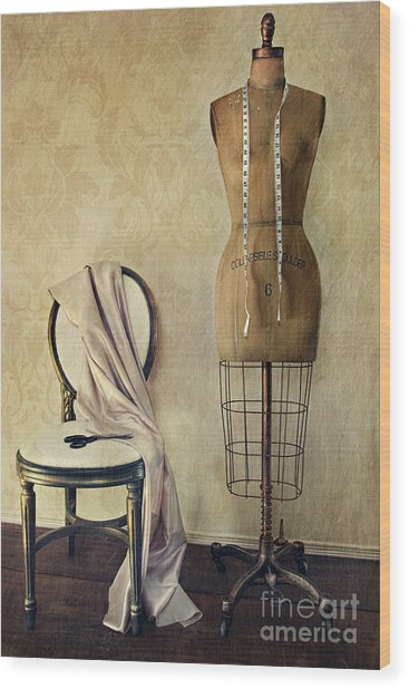 Antique Dress Form And Chair With Vintage Feeling Wood Print