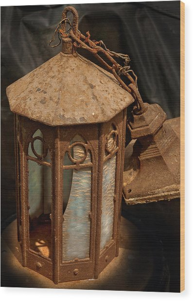Antique Entry Light Of Historic Church Wood Print