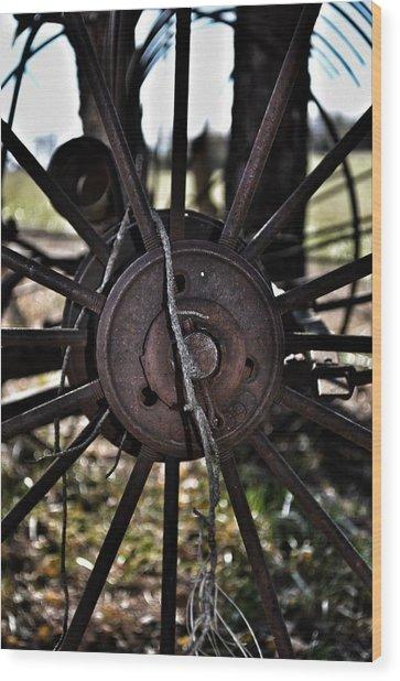 Antique Farm Equipment Wood Print by Branden Simons