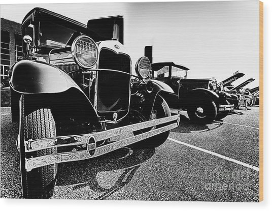 Antique Ford Car At Car Show Wood Print