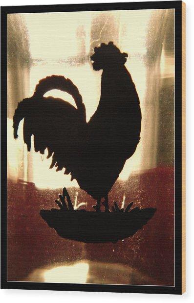 Antique Glass Chicken Silhouette Wood Print