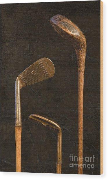 Antique Golf Clubs Wood Print